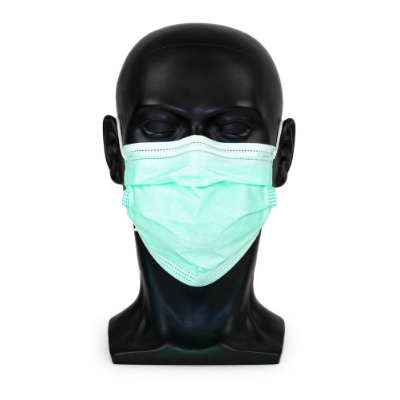 """Typ IIR medizinische Maske in der Farbe """"medical-green"""" in frontaler Ansicht"""