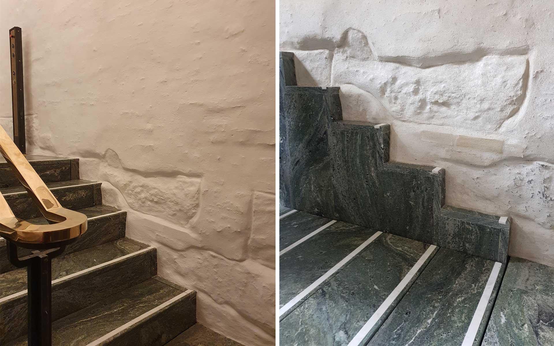 En løfteplattform er installert og blitt en del av trappen i inngangshallen