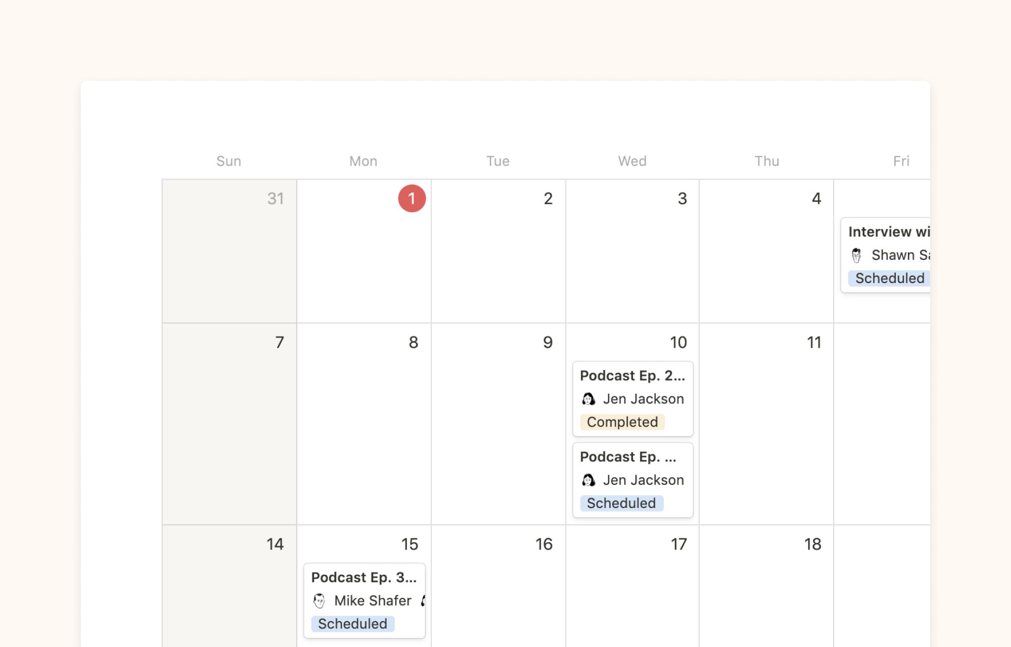 Editorial calendar example