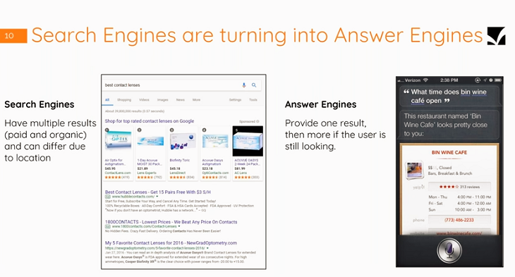 Search engines vs answer engines