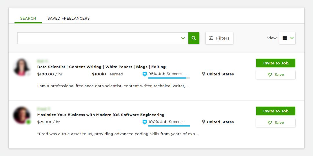 Upwork - writer search screen
