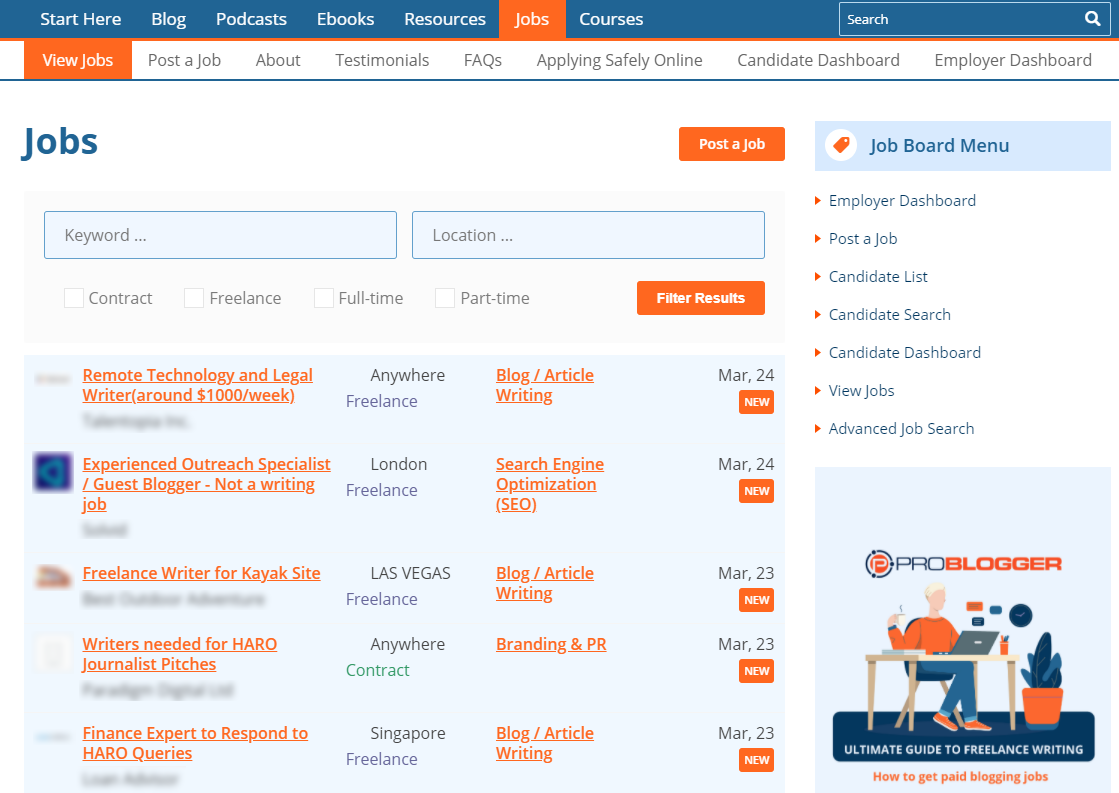 ProBlogger job listings to hire writers