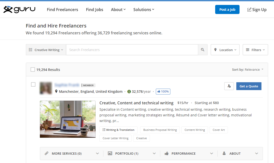Searching for freelance writers with Guru