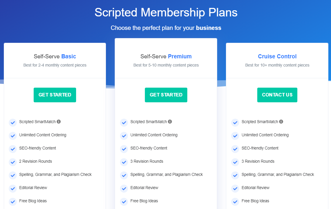 Scripted pricing plans