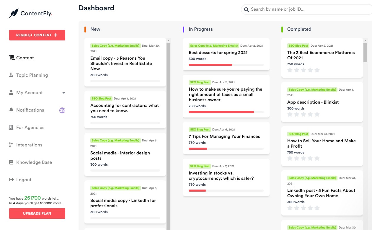 Contentfly - content production dashboard