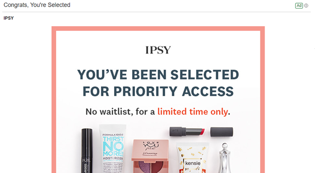 Ipsy - example of abandoned cart ad copy