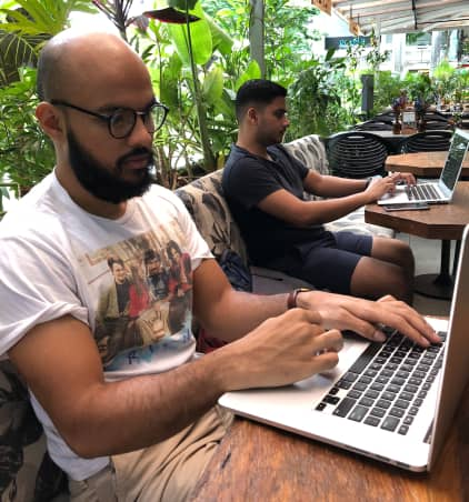 Copywriters working in co-working space ContentFly