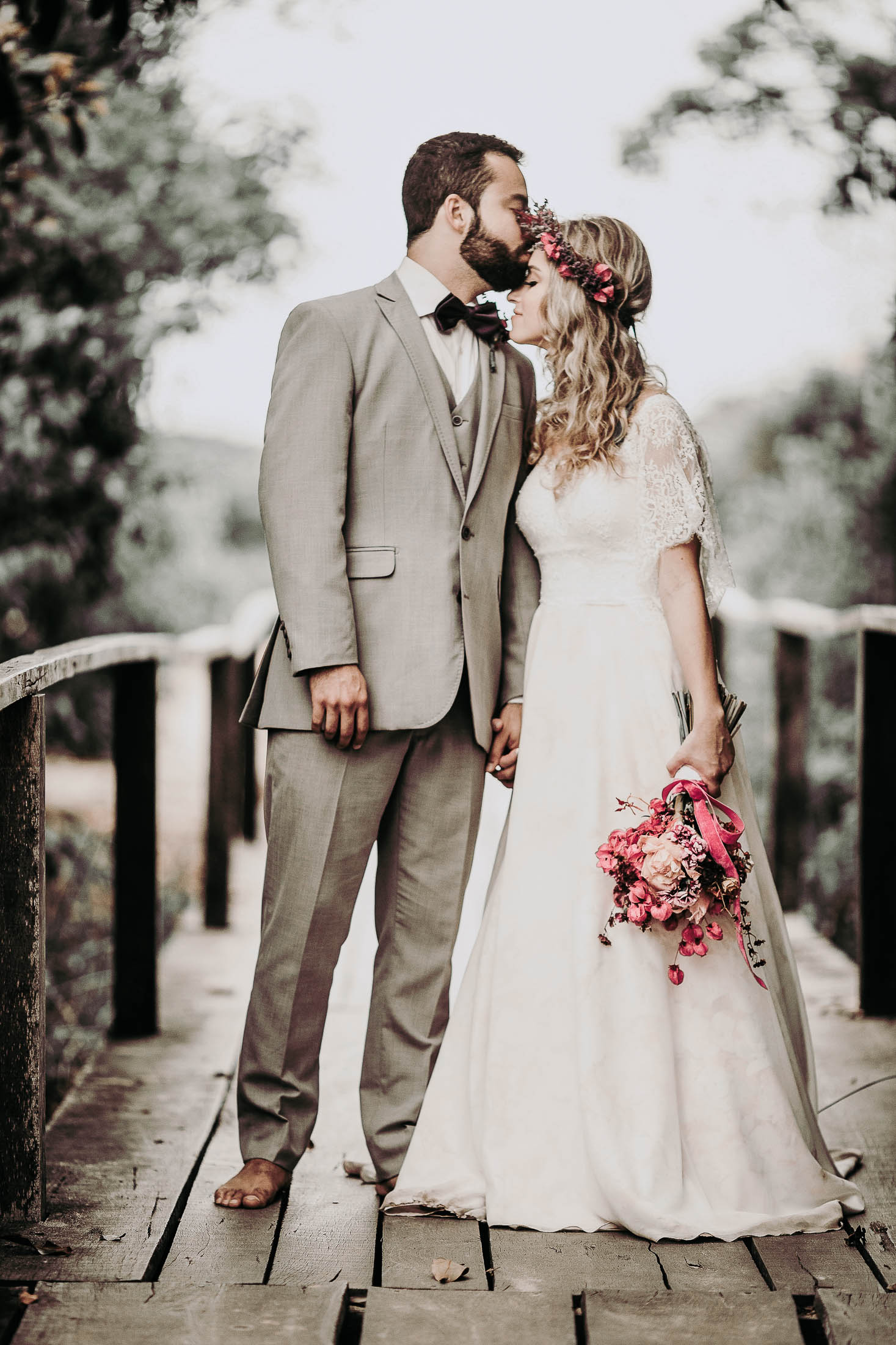 couple kissing wedding day