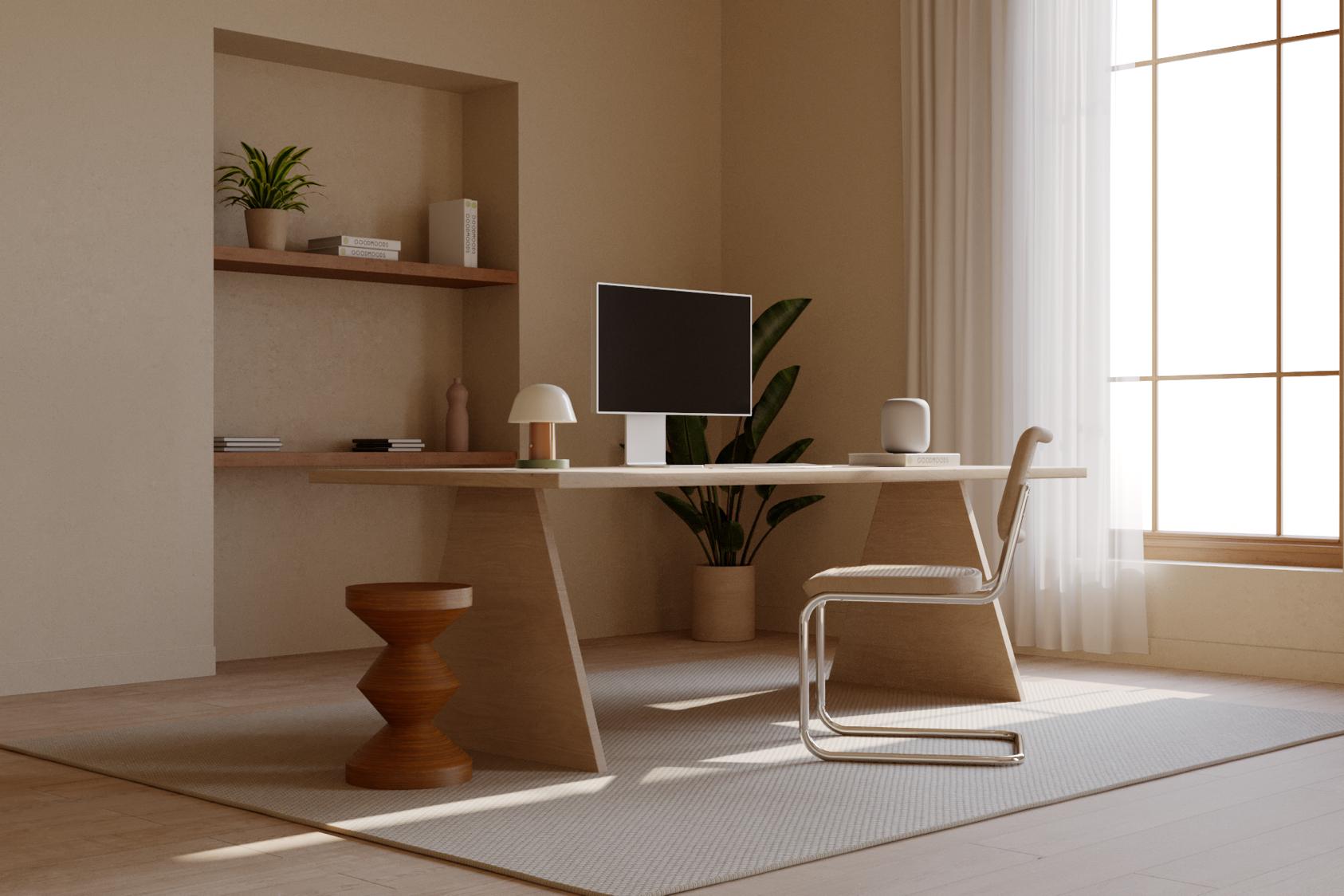 Fleex desk with computer