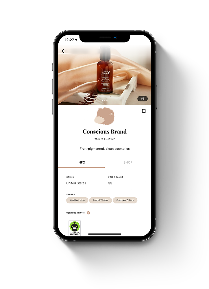 CBeyond app screen showing a brand's profile containing information on their country of origin, price range, values, and attributes with a link to their shop.
