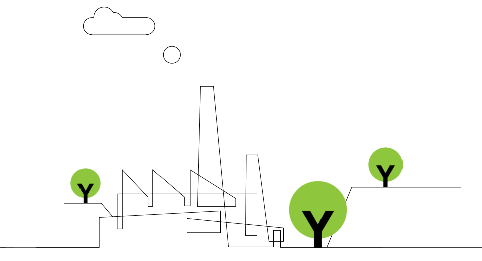 Simple line drawing of factory