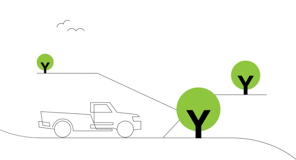Line drawing of Ute and trees