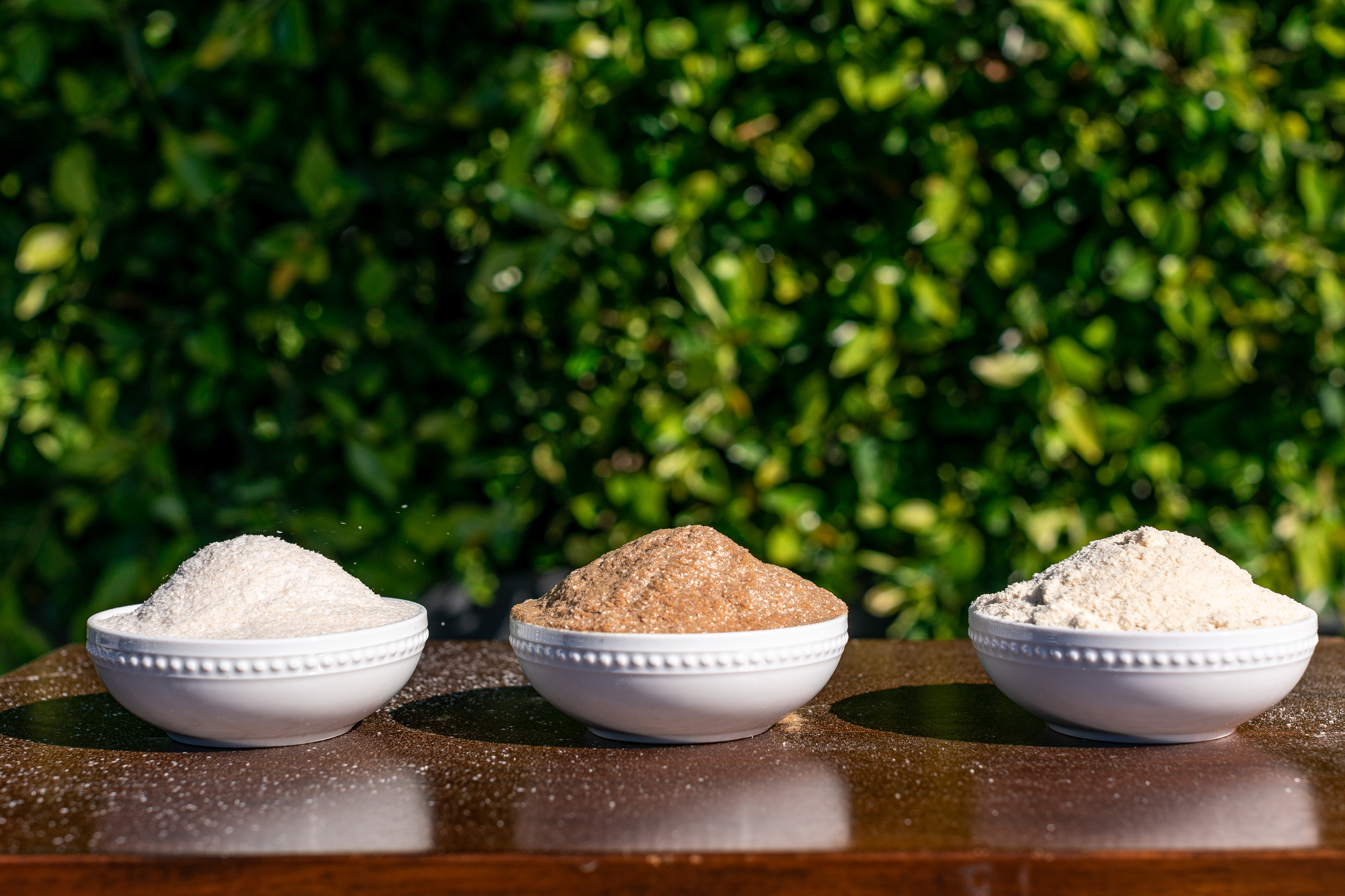 Three bowls of AgriFiber MFO, MFC, and BFG products
