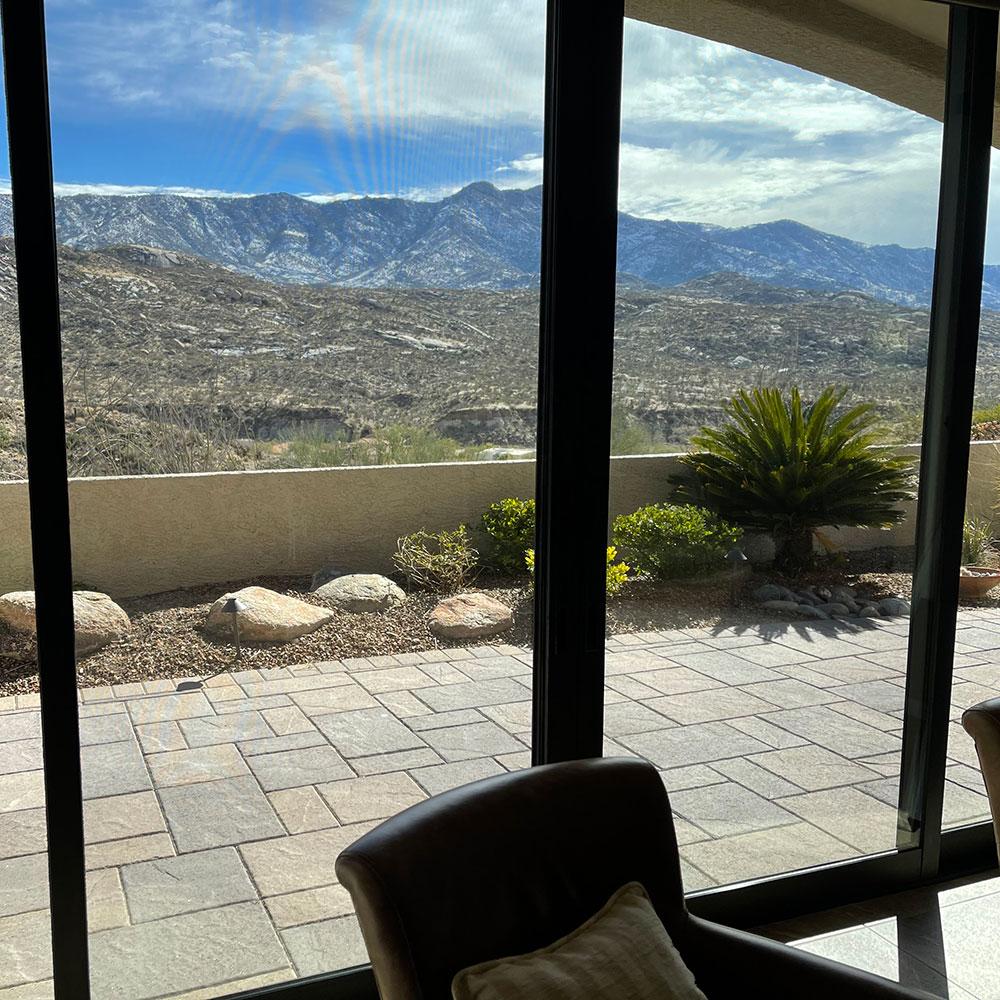 Clean patio door with Oro Valley view in Arizona.