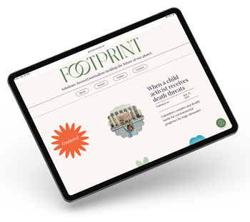 """an ipad with the climate change new site """"footprint"""" on it's display"""