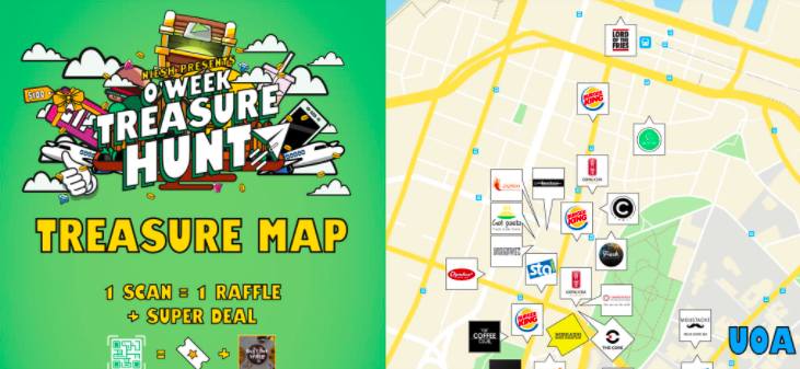 A scavenger hunt and a treasure map with places to visit to get deals