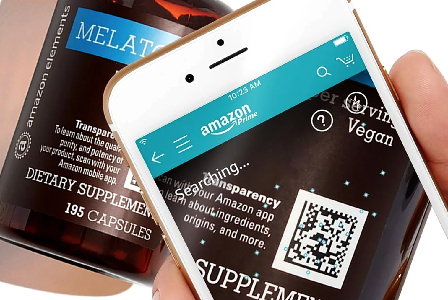 A phone scanning a QR code product information on Amazon Effect supplements