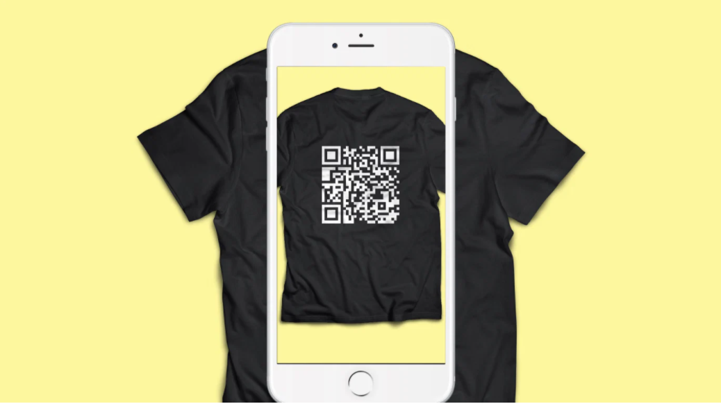 qr code black t-shirt with phone