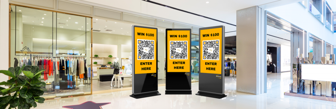 qr codes on mall display for contest