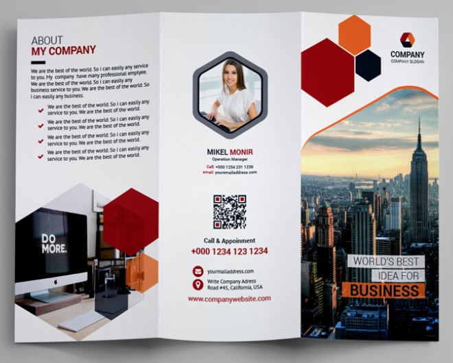 qr code on template business brochure
