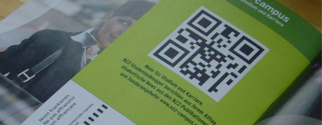 qr code on campus brochure
