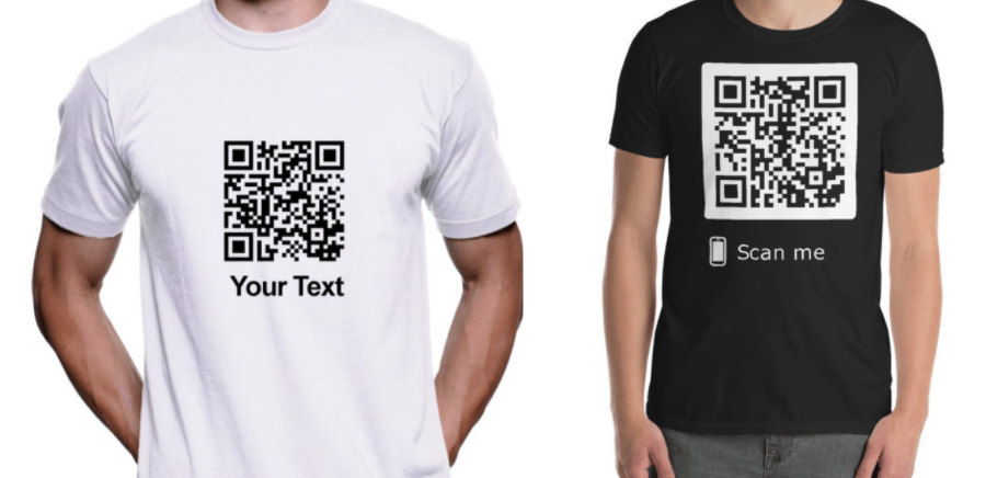 a black QR code on a white t-shirt and white QR code on a black t-shirt worn by men