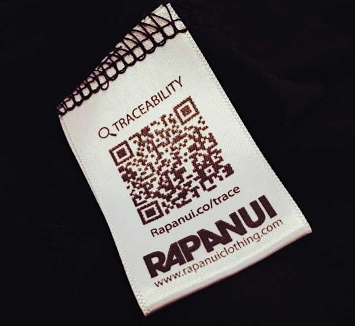 QR code on a material tag of Rapanui
