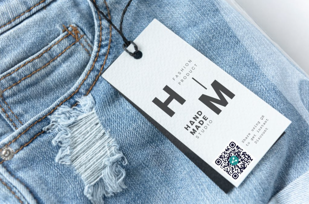 QR code on a blue jeans clothing tag