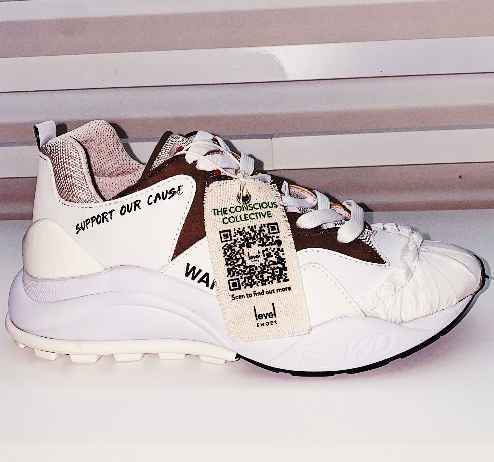 code on a material tag on sports shoes