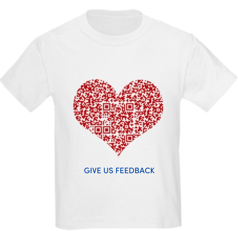 red qr code in a shape of red heart on a white t-shirt asking for feedback