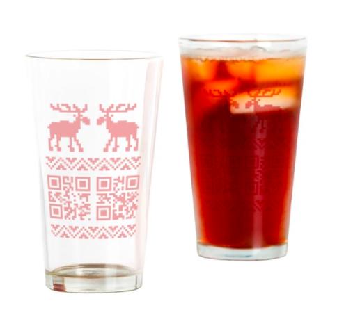 two qr codes on seasonal christmas glasses with deers