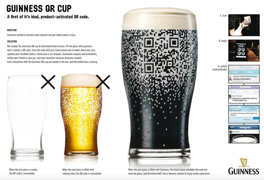 guinness pint glasses with qr codes