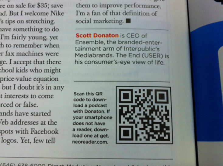 qr code printed in a magazine