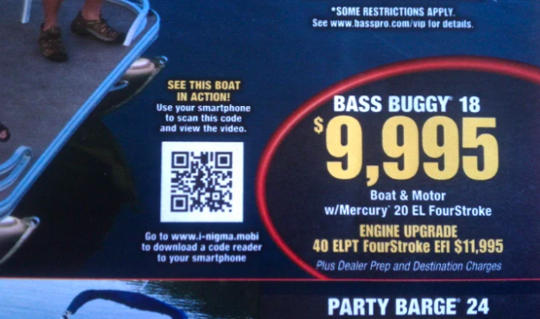 boat advertisement qr code in a magazine