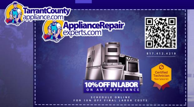 qr code 10 percent discount for appliance repair ad