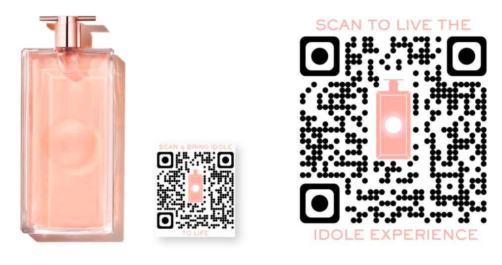 Lancome Idole perfume qr code advertisement with two large custom qr codes