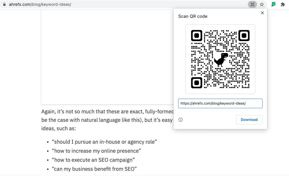 qr code dinosaur design on ahrefs website