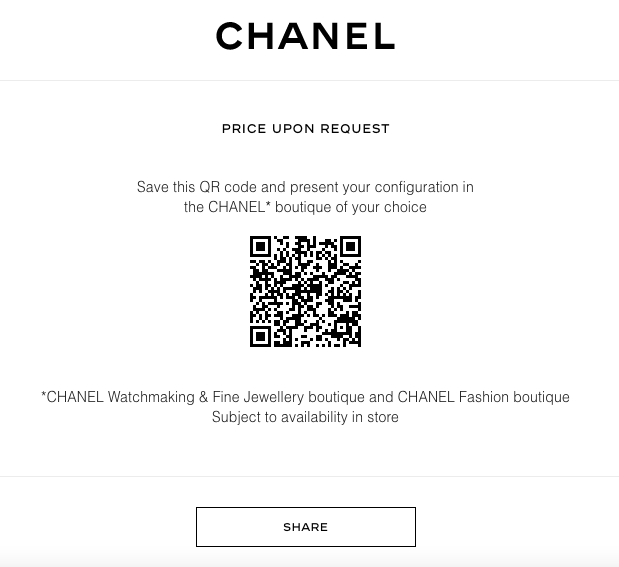 screenshot of a qr code for price request from chanel's website