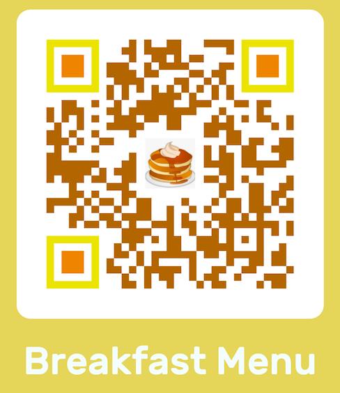 yellow breakfast menu custom qr code with pancakes emoji