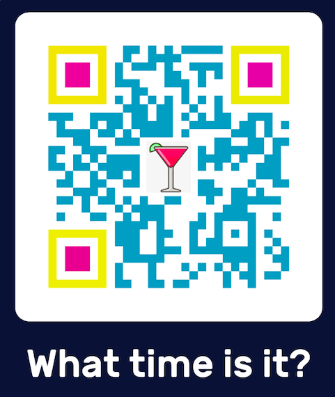 blue and yellow custom design qr code with a cocktail emoji