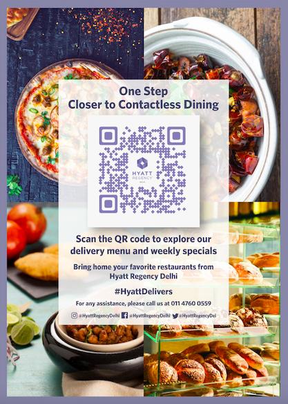 contactless qr code menu leaflet at hyatt regency delhi