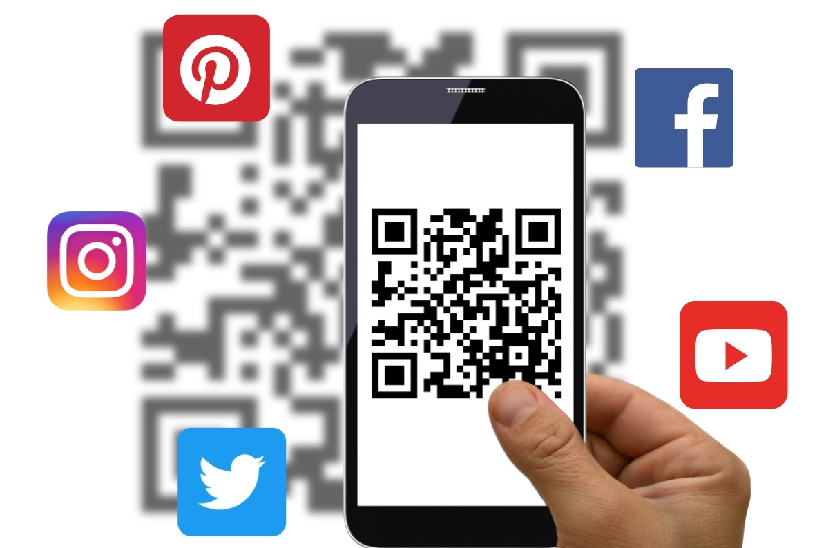 a qr code surrounded among social media icons