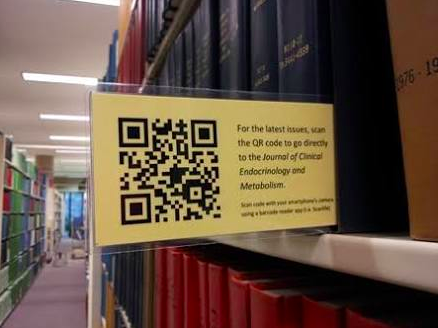 QR code yellow bookmark in the library