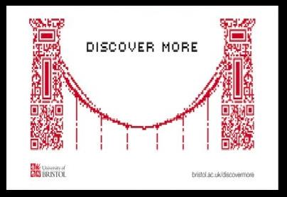 QR code in a shape of a bridge bristol university billboard