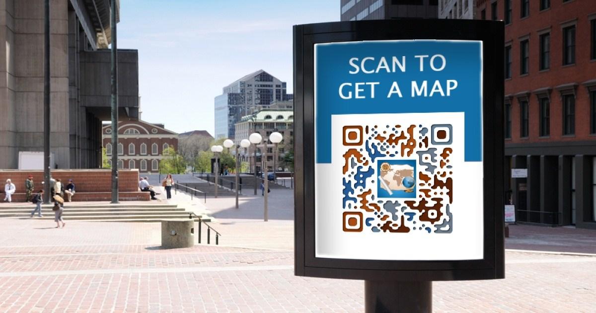 QR code located on a tourist billboard