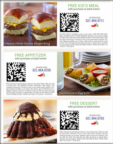 QR code coupons for a restaurant: free kid's meal, free appetizer, free dessert