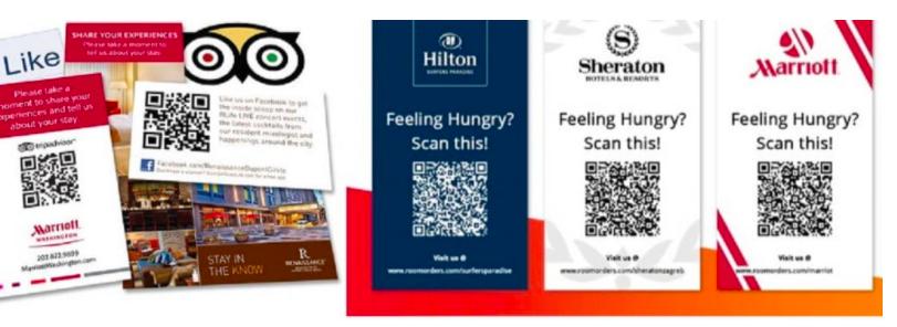 QR code room service menus in hilton sheraton marriott hotels