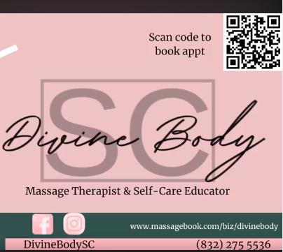 A brochure with a QR code to book a massage appointment