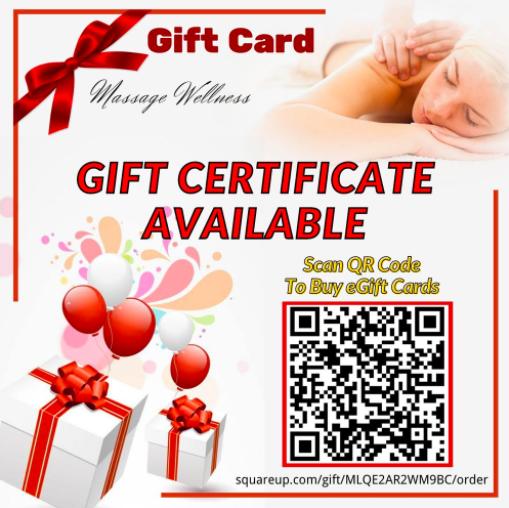 QR code massage wellness gift card leaflet