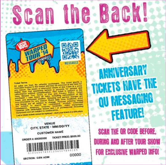 QR code vans warped tour concert ticket